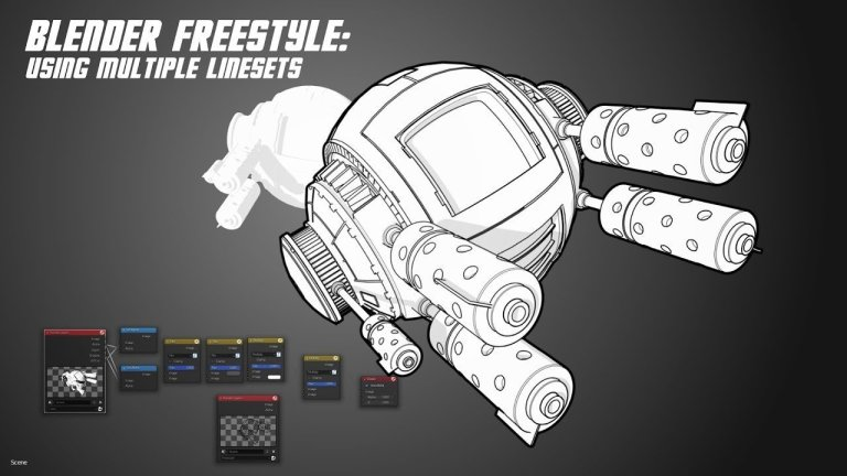 Freestyle Linesets for more detailed linework Tutorial in Blender 2.8