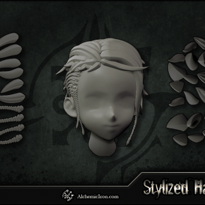 Stylized Hair – ZBrush Curves and IMM Brushes By  Alchemic Iron Games