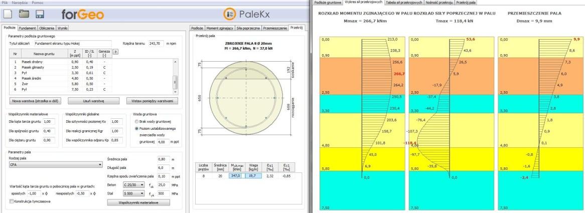 Projektowanie fundamentów głębokich przy użyciu specjalistycznego oprogramowania geotechnicznego.