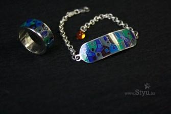 минанкари в алматы, минанкари в астане, кольцо с эмалью в алматы, кольцо с эмалью в астане, серебряный комплект, горячая эмаль на серебре, серебряное украшение, украшение с эмалью, домики, кольцо с домиками, кулон с домиками, дома, цветные дома