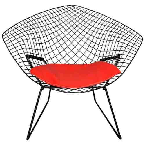 muebles de mediados de siglo-harry-bertoia-silla-diamante-con-asiento-rojo