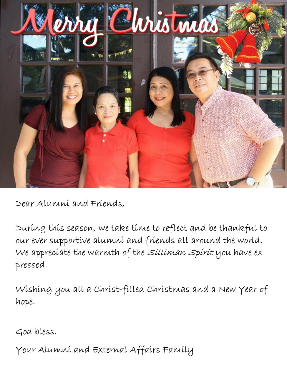 A Christmas Message from the Office of Alumni and External Affairs