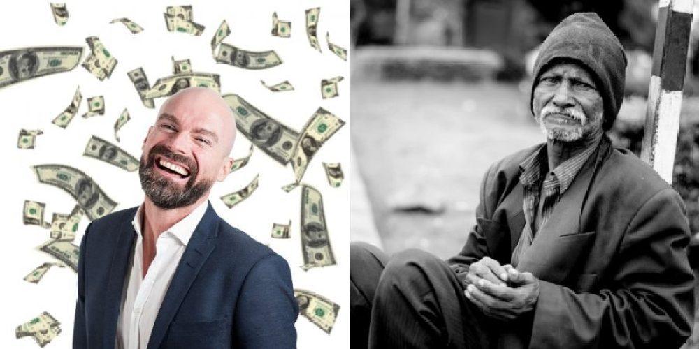 A imagem procura demonstrar as diferenças entre ricos e pobres.