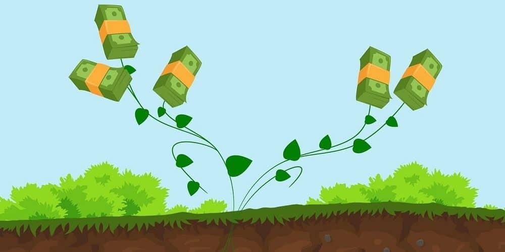 Dinheiro brotando do chão, mostrando os resultados de um bom investimento de curto prazo.