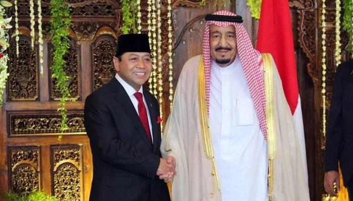 Setya Novanto Sambut Kedatangan Raja Salman di DPR RI