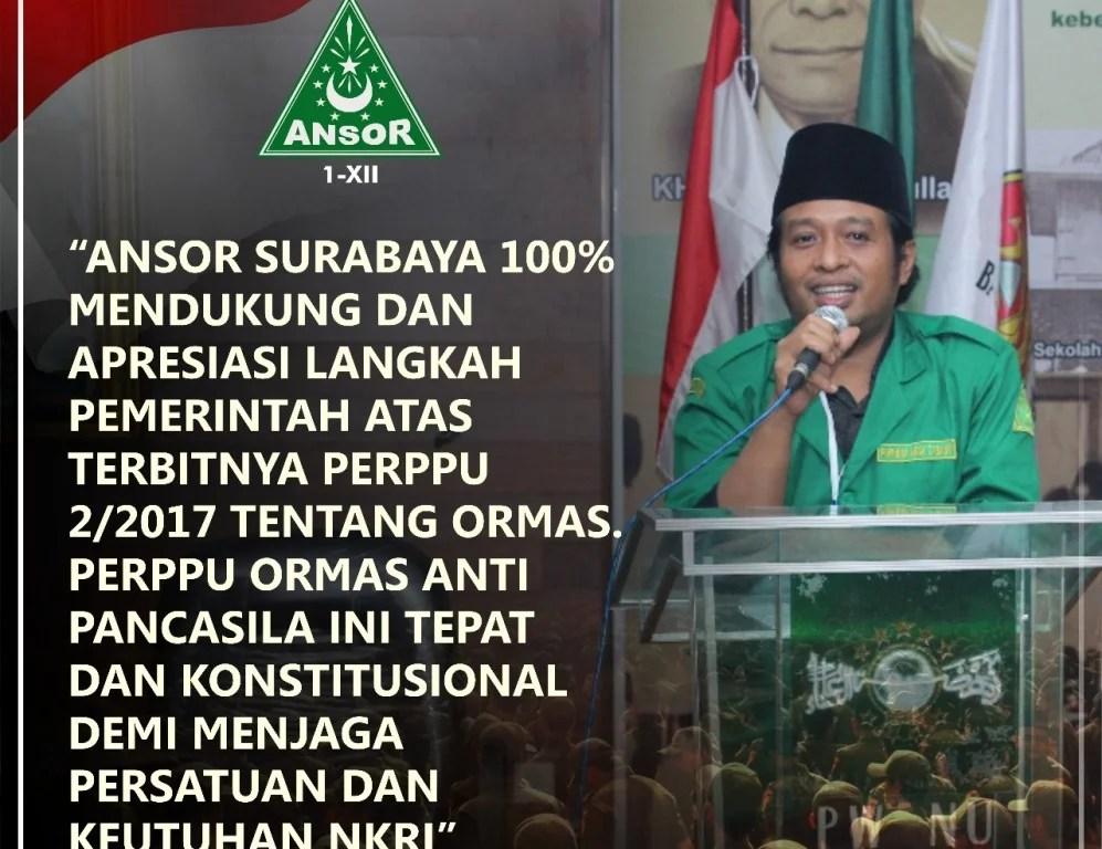 GP Ansor Tegaskan Siap Kawal Perppu Pembubaran Ormas