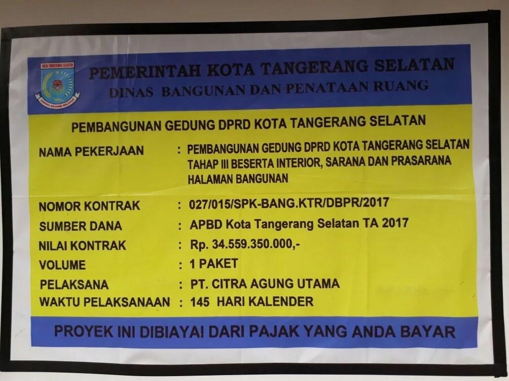 Pembangunan Gedung DPRD Tangsel Kembali Dilanjut, Wakil Ketua DPRD Tangsel : Saya Pesimis