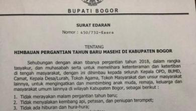 Photo of Melalui Surat Edaran, Bupati Bogor Imbau Warga Tak Rayakan Tahun Baru