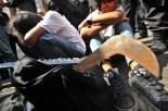 Puluhan pelajar SMA diamankan polisi di jalan HR Rasuna Said, Kuningan, Jakarta Selatan, Selasa (3/4)