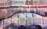 Headline Harian Nasional 9 Februari 2015, Mobnas Proton Proyek Akal-Akalan