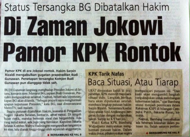 tidak Ada Alasan Untuk Jokowi Tunda Pelantikan BG