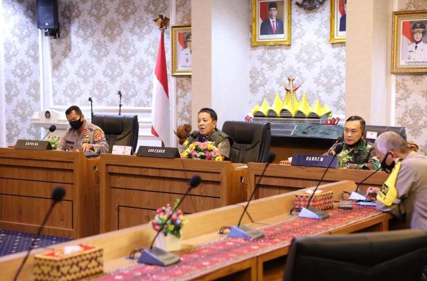 Gubernur Arinal Lakukan Koordinasi Bersama Kabupaten/Kota se- Provinsi Lampung Pasca Ditetapkannya Bandarlampung sebagai Zona Merah Covid-19 oleh Kemenkes