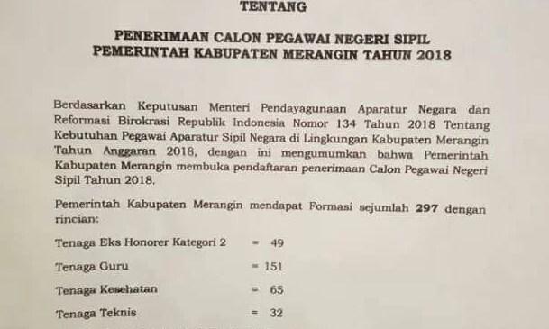 Pemkab Merangin Buka Pendaftaran CPNS Tahun 2018