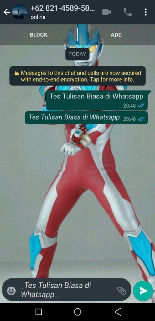 Tulisan Miring di Whatsapp