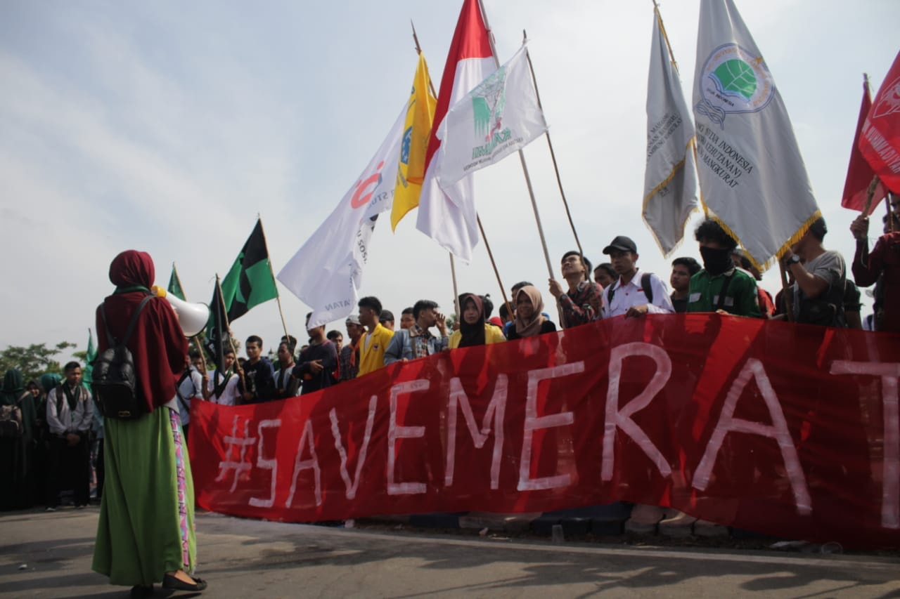 Aliansi Meratus II Demo Tolak Tambang Meratus di Hari Sumpah Pemuda.
