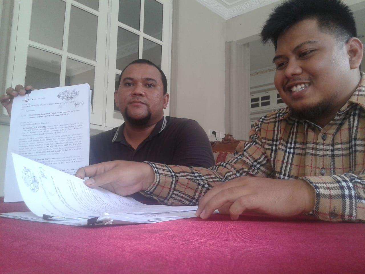 Oknum BPN Dilaporkan ke Polda Kalsel Soal Tanah dan Selebaran Surat