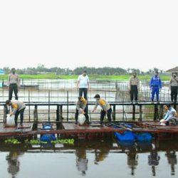 POLISI DAN WARGA Lepas 8000 Bibit Ikan di Kampung Tangguh Banua