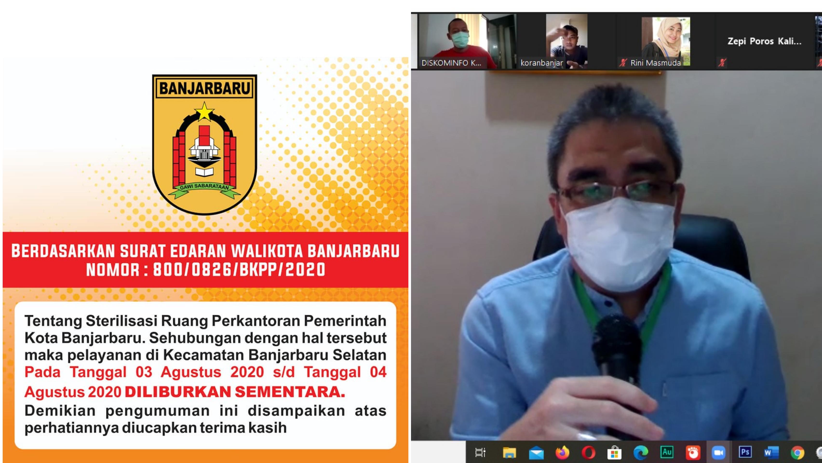 SEKDA DAN EMPAT PEJABAT Pemko Banjarbaru Susul Walikotanya Terpapar COVID-19