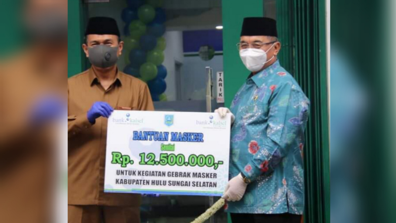 PROGRAM GEBRAK Masker di HSS Didukung Bank Kalsel dengan Menyumbang Rp12, 5 Juta