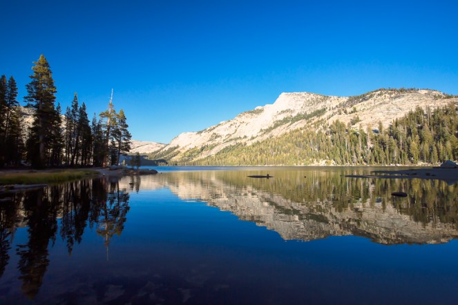 Vista do Tenaya Lake ao entardecer no Parque Nacional de Yosemite