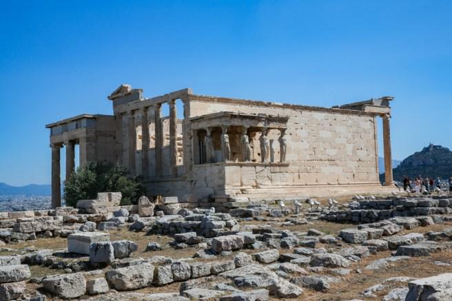 As Cariátides da Acrópole em Atenas