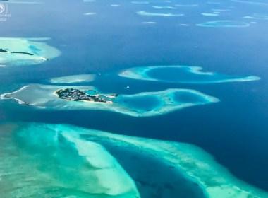 Vista Aérea na Viagem Para as Maldivas