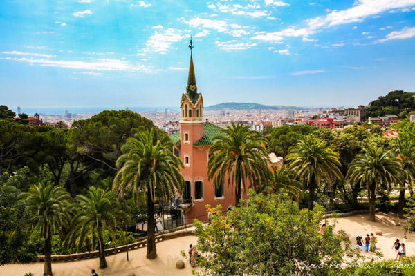 Vista Parc Güell em Barcelona