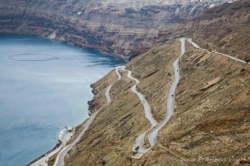 Vista desde a Vinícola em Santorini