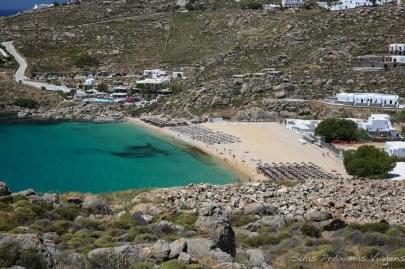 Vista aérea da Paradise Beach em Mykonos