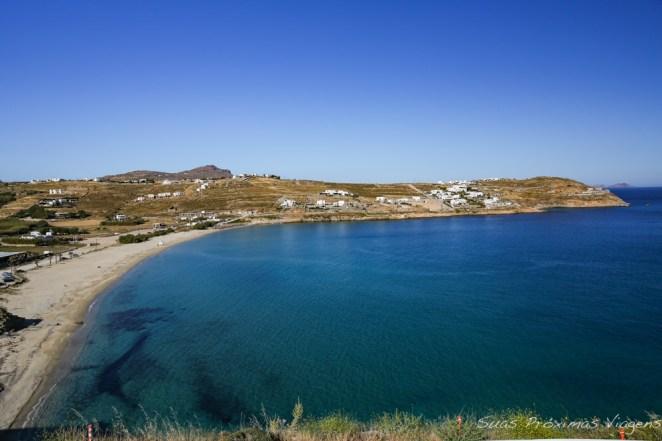Praia Kalo Livadi desde o Pietra e Mare em Mykonos