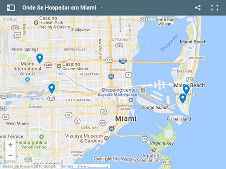 Localização dos Hotéis sugeridos para onde se ficar em Miami