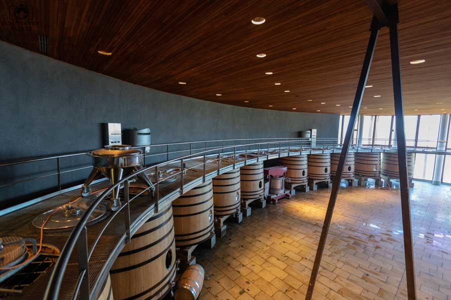 imagem dos barris de coleta do vinho na clos apalta um dos melhores vinhos chilenos