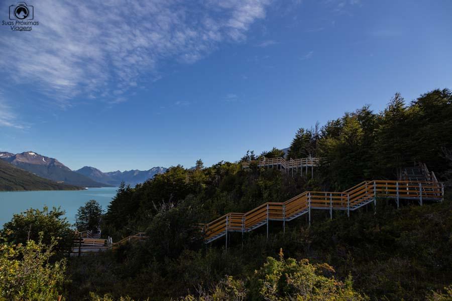 Imagem das passarelas do Parque Nacional dos Glaciares