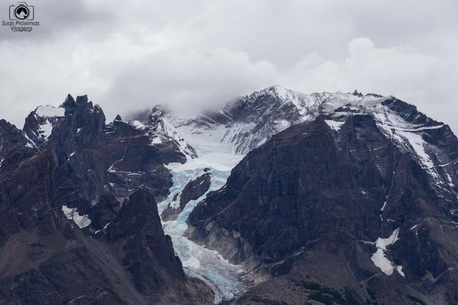 Imagem do glaciar no Monte Almirante Nieto