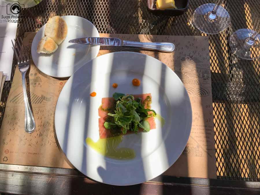 Imagem do 1o prato do almoço harmonizado da Vinícola Matetic