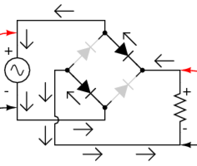 Full Wave Bridge Rectifier Electron Flow For Positive Half Cycles