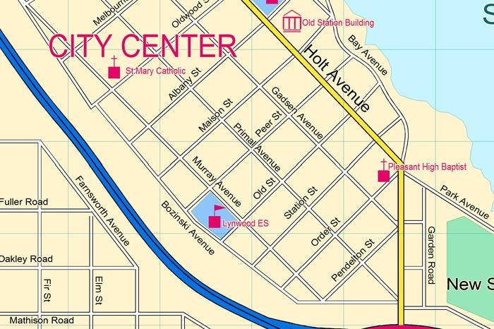 Modern City Street Map