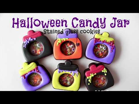 【 HALLOWEEN Candy jar Stained glass cookies 】ハロウィンキャンディージャーのシャカシャカクッキー