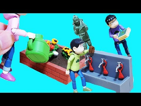 おそ松さん 学校で園芸 ガーデニング Miniature School Life!Cleaning time!Let's make school shiny