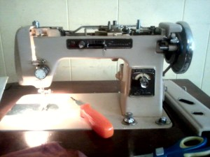 Sewing Machines- Beige Vintage Montgomery Ward Signature.