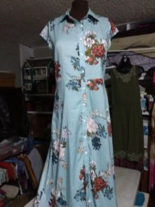 Blue, long floral shirtdress