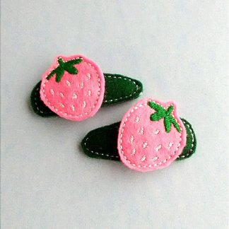 Strawberry Hair Clip Barrettes in Pink and Green