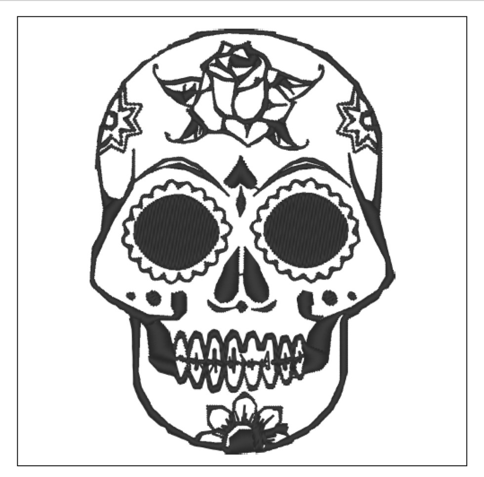 Floral Sugar Skull Embroidery Design File