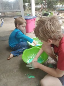 Homeschooling making slime