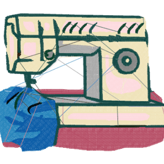 Sewing Machine with blue fabric