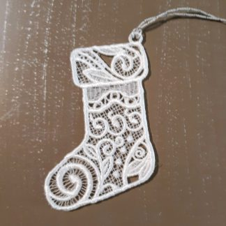 White Christmas Stocking Lace Ornament