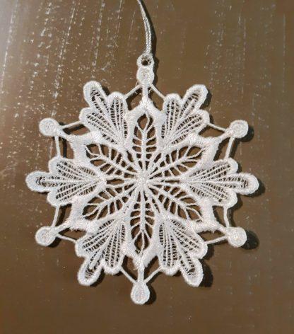 White Snowflake Lace Ornament 2