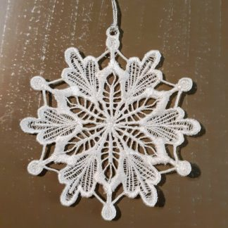 White Snowflake Lace Ornament 2