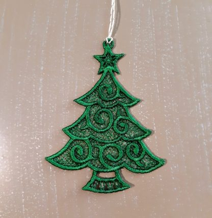 Green Christmas Tree Lace Ornament