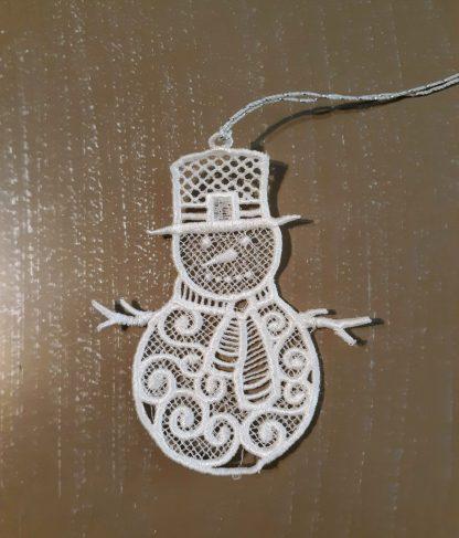 White Snowman Lace Ornament
